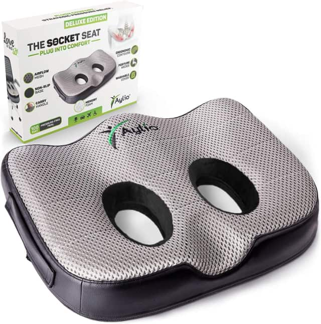 Image shows the memory foam cushion product and box.