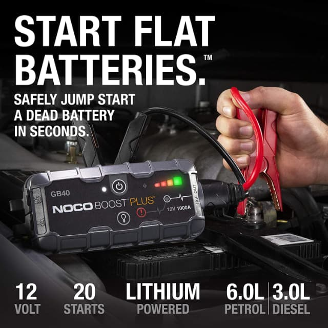 Image shows lithium battery jump starter in use.