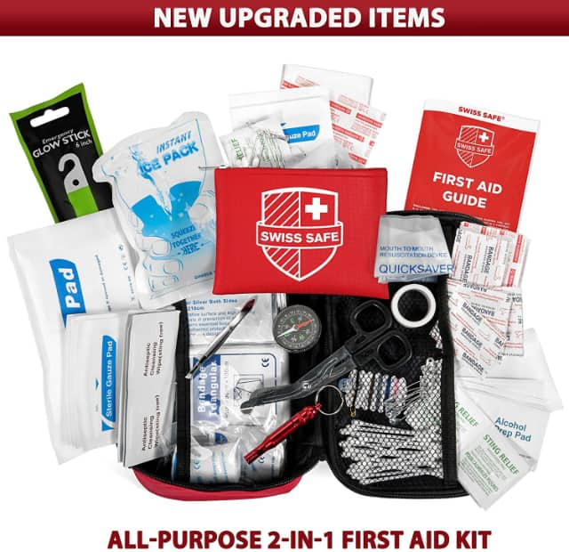 Image shows contents of the portable first aid kit.
