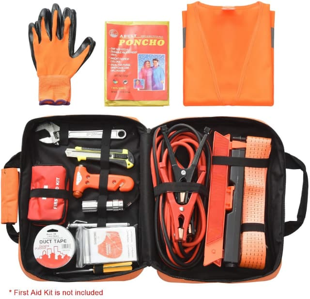 Image shows the contents of a roadside emergency kit.