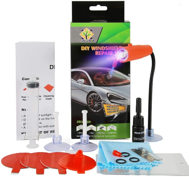 Image shows content of the home windshield repair kit.