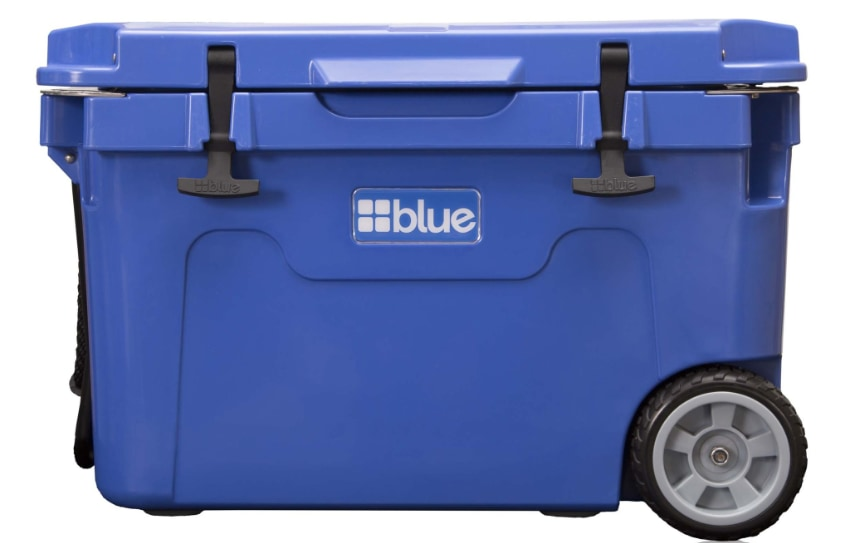 Image shows the product Blue Coolers 55 Ice Vault with the lid closed.
