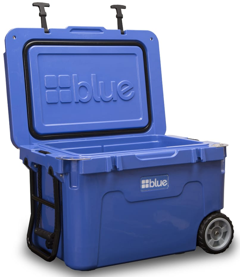 Image shows the Blue Coolers 55 Ice Vault with the lid open.