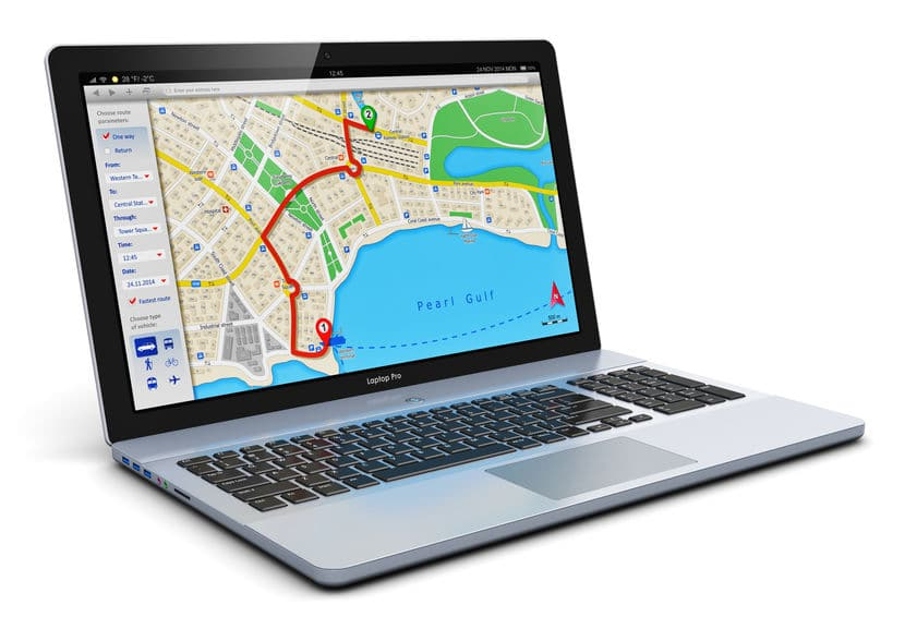 A photo of a map app on a laptop computer, showing GPS driving directions.