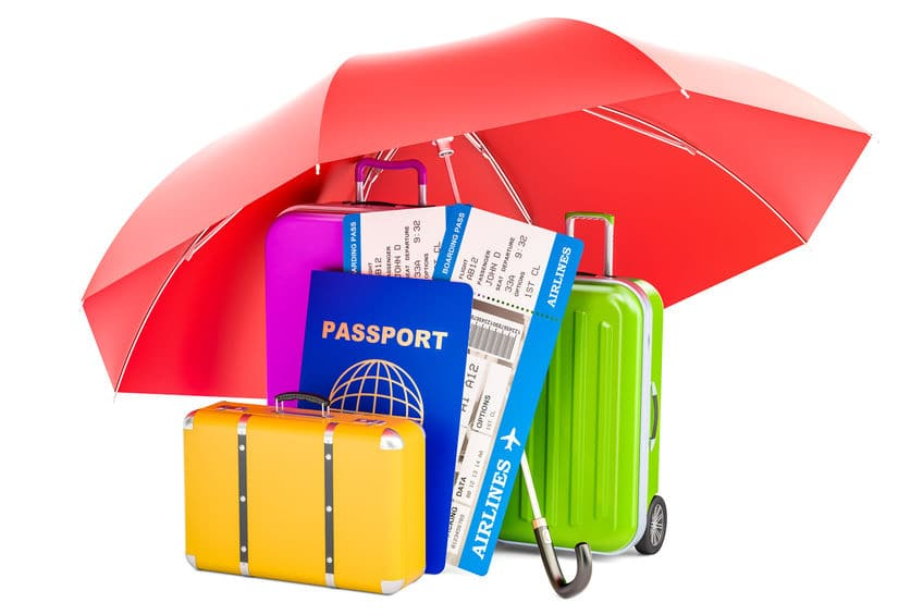 This illustration symbolically shows an umbrella with the traveler's passport and important documents protected by it.